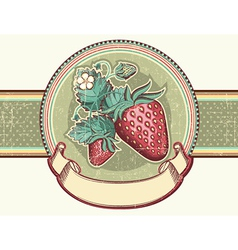 Vintage label with Red strawberries for text vector image vector image
