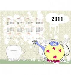 calendar for 2011 with teapot vector image
