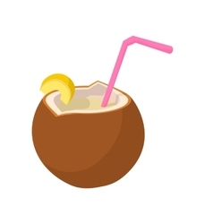 Coconut cocktail icon cartoon style vector image