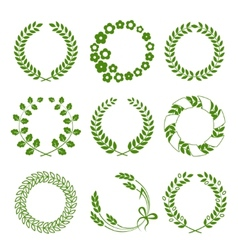 Green wreaths isolated on white background vector image