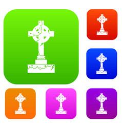 irish celtic cross set color collection vector image