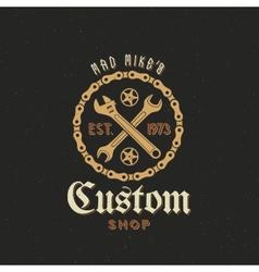 Retro bicycle custom shop label or logo vector