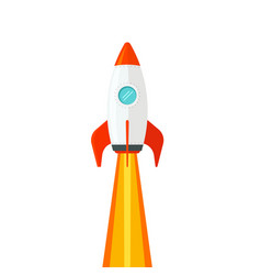rocket ship flying isolated on white background vector image vector image