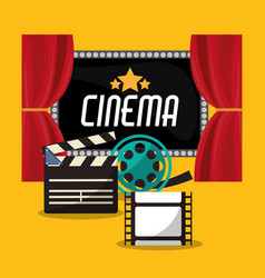 Cinema teather reel film clapper and board vector
