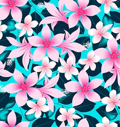 Pink tropical hibiscus flowers with blue leaves vector image