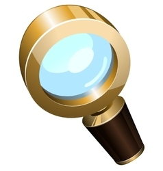Realistic golden magnifying glass vector image