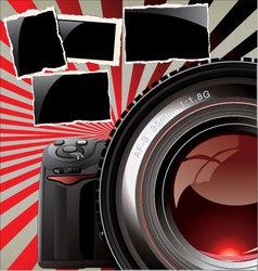retro background - professional camera vector image