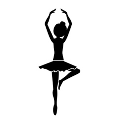 silhouette with dancer pirouette fifth position vector image vector image