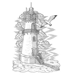 Vintage light house with a gull vector