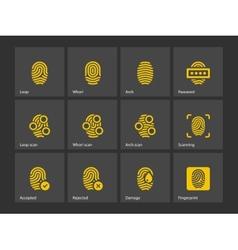 Fingerprint and thumbprint icons vector