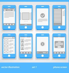 flat phone screen set 1 vector image vector image