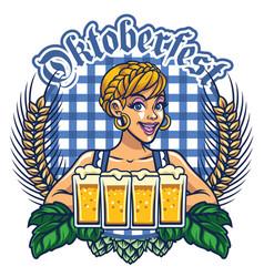 girl of oktoberfest design vector image vector image