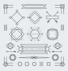 Line and geometric labels and badges monochrome vector