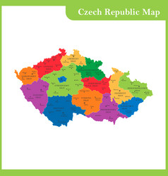 the detailed map of the czech republic with vector image