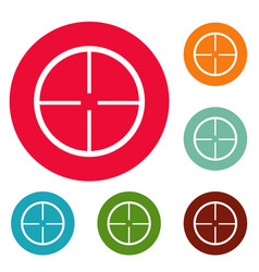 aim icons circle set vector image