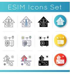 Air cooling and heating icons set vector