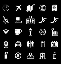 Airport icons on black background vector