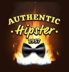 authentic hipster label vintage emblem on vector image