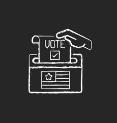 ballot drop box chalk white icon on black vector image