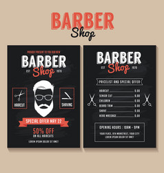 Barber shop flyer template price list vector