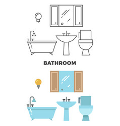 bathroom concept - flat style and line style vector image