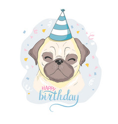 birthday cards set with cute cartoon dogs vector image