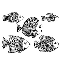 Black and white ornamental decorative fishes in vector