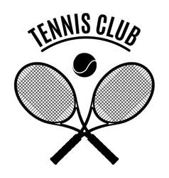 black and white tennis club emblem vector image