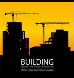 black silhouettes of buildings and cranes on vector image