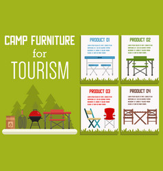 Camp furniture for tourism flat banner vector