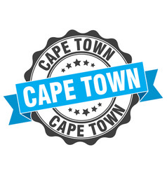 cape town round ribbon seal vector image vector image
