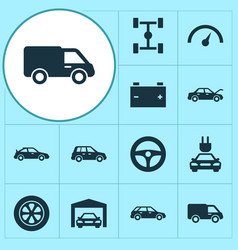 Car icons set collection of truck hatchback vector