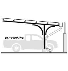 Car parking lot roofing section vector