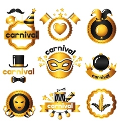 Carnival badges with gold icons and objects vector