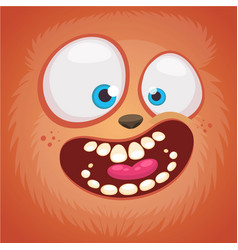 Cartoon monster face isolated vector