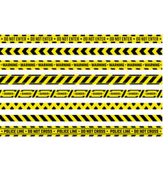caution tape yellow attention ribbon with warning vector image