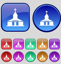 Church Icon sign A set of twelve vintage buttons vector