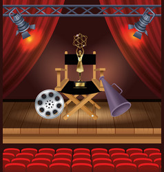 cinema entertainment with director chair vector image