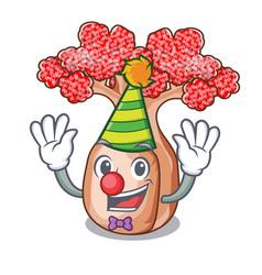 Clown bottle shaped tree on a cartoon vector