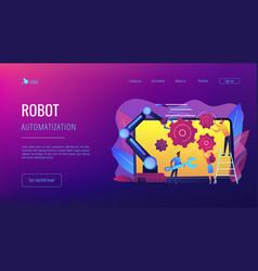 Collaborative robotics concept landing page vector