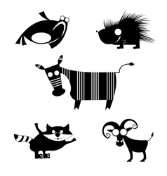 Comic animal silhouettes vector
