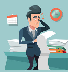 Confused businessman with long to do list vector