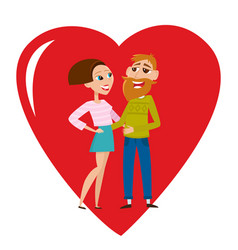 Cool hipster couple in love isolated on vector