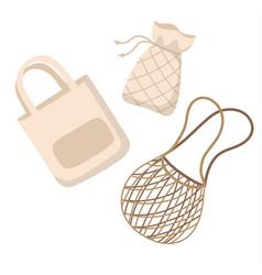 Cotton reusable bags - zero waste concept vector