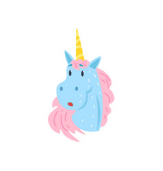 cute funny surprised unicorn character cartoon vector image