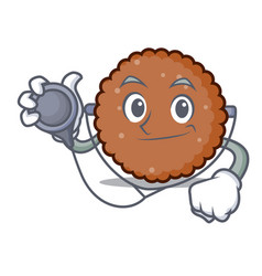 doctor chocolate biscuit character cartoon vector image