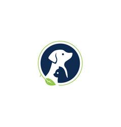 dog cat pet leaf logo icon illutration vector image