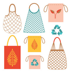 Eco friendly grocery string bags flat set vector