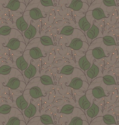 Fabric design leaves green on brown vector
