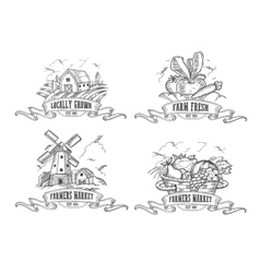 Farmers market logo set Farm Monochrome vector